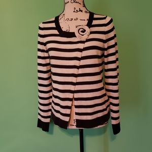 Boden Stripe Flower Cardigan size 00